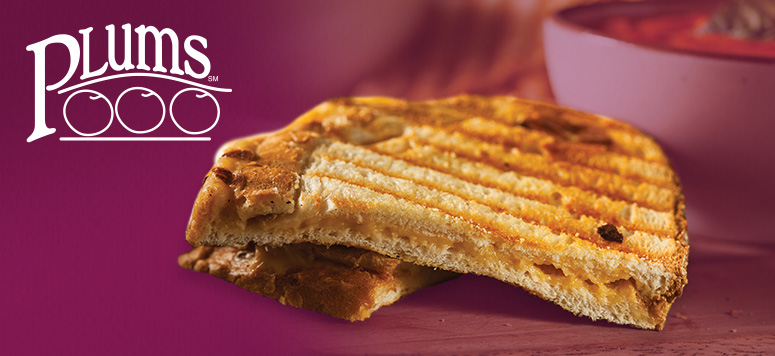 Warm up with a Grilled Cheese Sandwich and cup of Chili at Plums for just $5.99!
