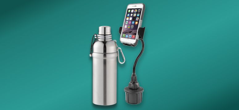 Stainless Steel Canteen & Hands-Free Cell Phone Mount